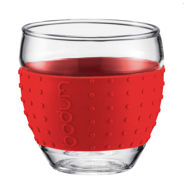 Set Of 2 Bodum Pavina 3oz Grip Glasses Red Base