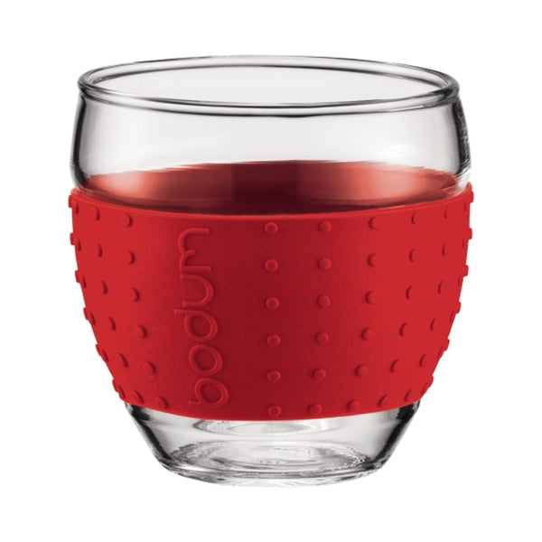 Bodum Pavina Grip Glass 3oz Cups in Red - DISCONTINUED