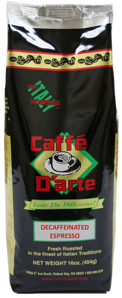Caffé D'arte Decaffeinated Espresso Whole Bean