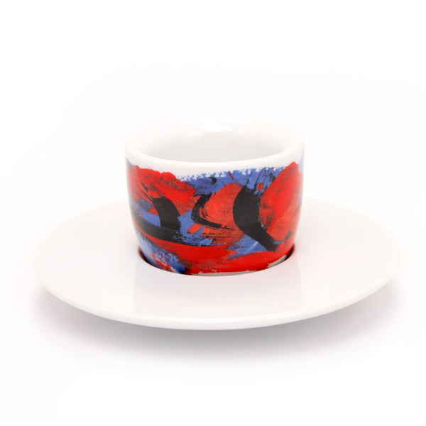 Francis Francis! Mou Cup and Saucer Red/Darkblue