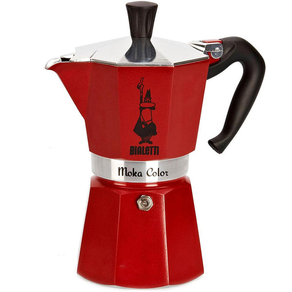 Bialetti Moka Express Color Stovetop Coffeemaker in Red 6 Cup