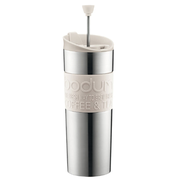 Bodum 15oz Traveling French Press Coffee Maker in White