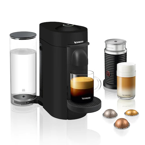 Nespresso VertuoPlus and Aeroccino Bundle in Black Matte