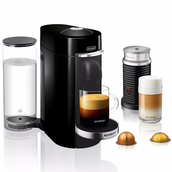 Nespresso VertuoPlus Deluxe and Aeroccino Bundle in Piano Black