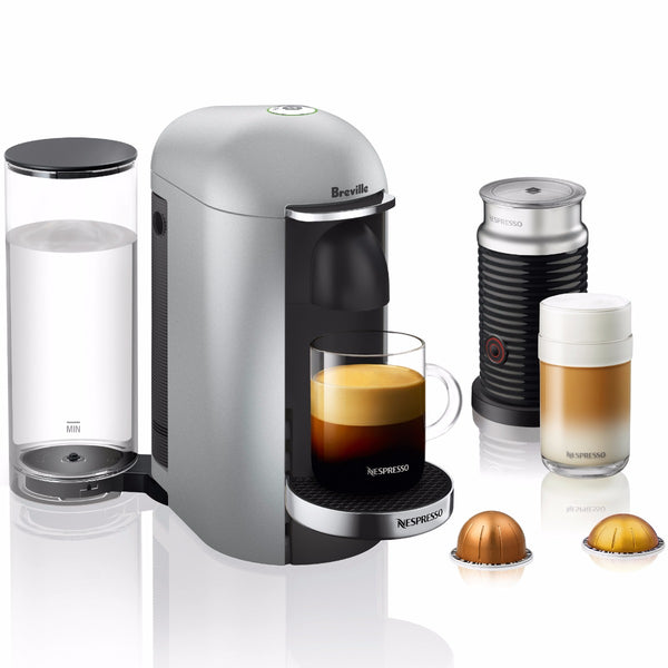 Nespresso VertuoPlus Deluxe and Aeroccino Bundle in Silver