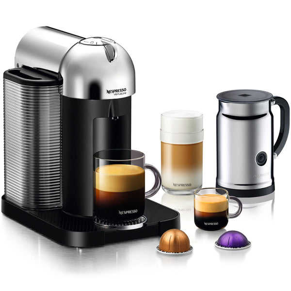 Nespresso VertuoLine in Chrome and Aeroccino Plus