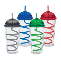 BLANK - 20 oz Acrylic Tumblers with Dome Lid and Swirly Straw