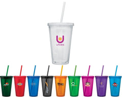 Double Wall Acrylic Color Tumbler with Lid and Straw