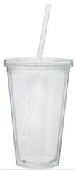 BLANK - 16 oz. Double Wall Clear Tumbler with Lid and Straw