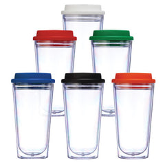 BLANK - 16 oz Clear Coffee Tumblers with Color Lid