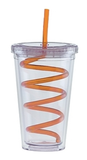 BLANK - 20 oz. Double Wall Clear Tumbler with Lid and Swirly Straw