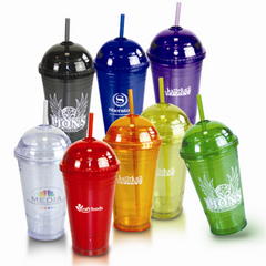 BLANK - 16 oz. Double Wall Slurpy Tumbler with Dome Lid Straw