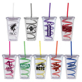 BLANK - 16 oz. Double Wall Clear Tumbler with Lid and Swirly Straw