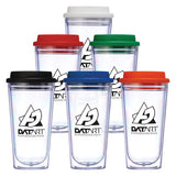 16 oz Clear Coffee Tumblers with Color Lid