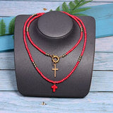 Collier Croix Perle rouge
