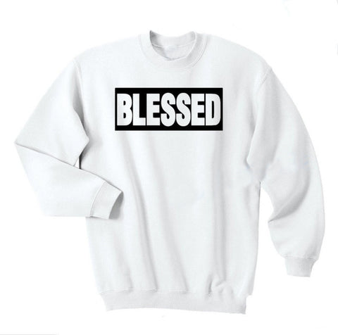 "Sweat Jésus - Blessed ""Béni"" blanc noir"