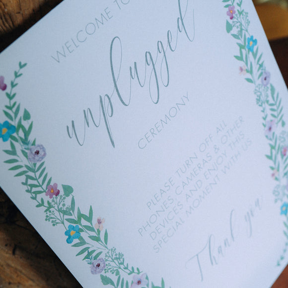 Floral Unplugged Ceremony Sign