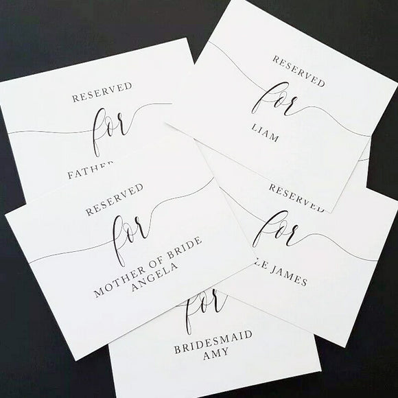 Personalised Reserved Seating Cards