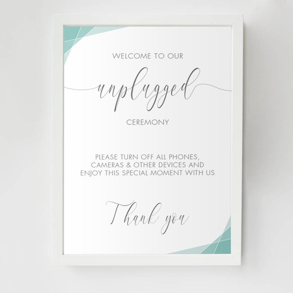Geometric Unplugged Ceremony Sign