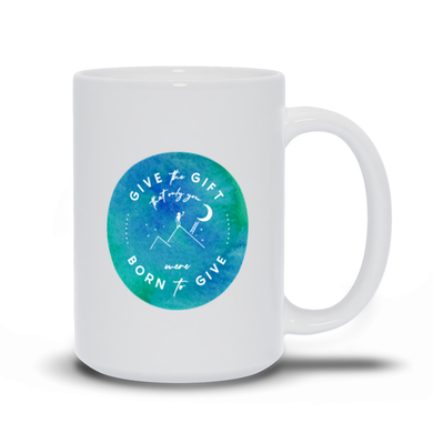 Give the Gift mug (watercolor aqua)