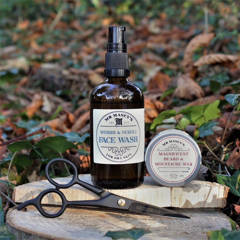 Mr Masey's Big Brilliant Beard Box 3, Face wash, Moustache Wax, Scissors