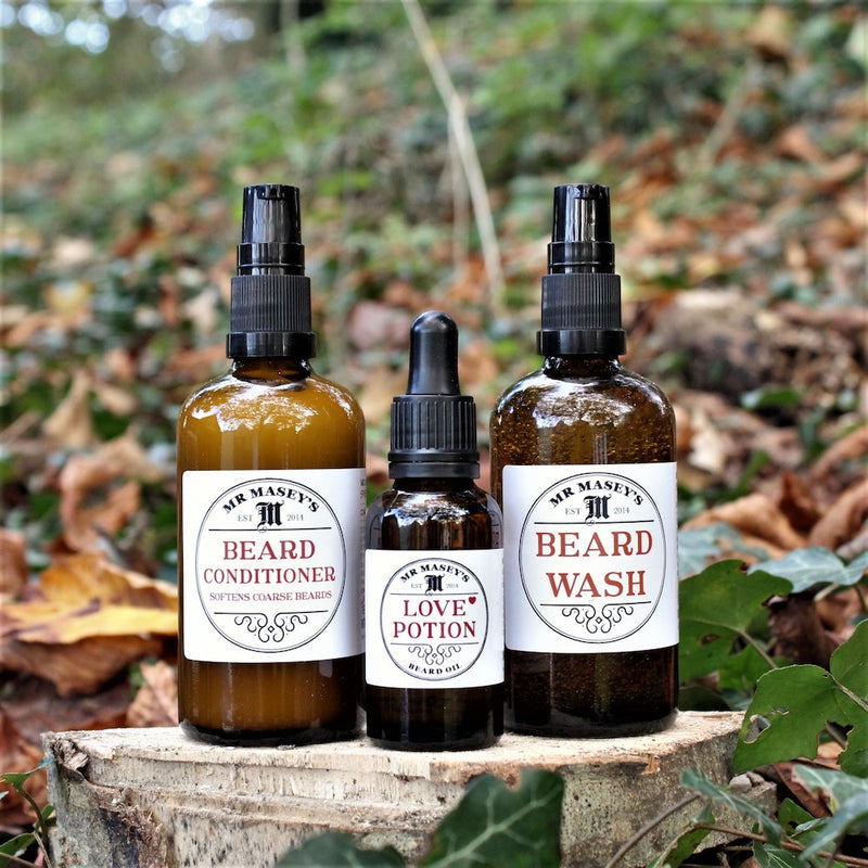 Mr Masey's Big Beard Kit with Beard wash, Conditioner & beard Oil in autumnal setting