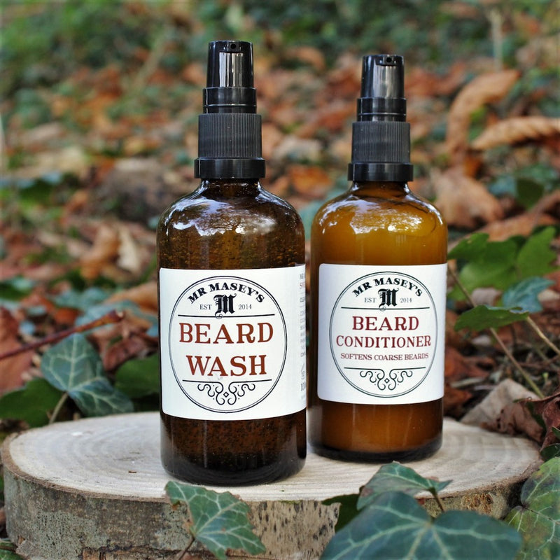 Mr Masey's Duo Kit Beard Wash and Beard Conditioner in autumnal setting
