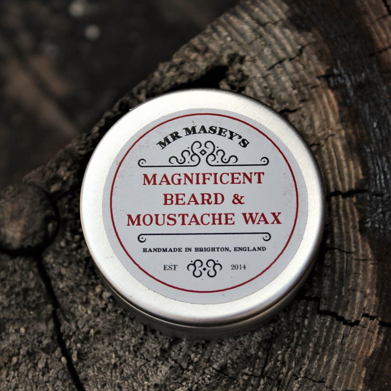 Mr Masey's Moustache Wax tin in autumnal setting