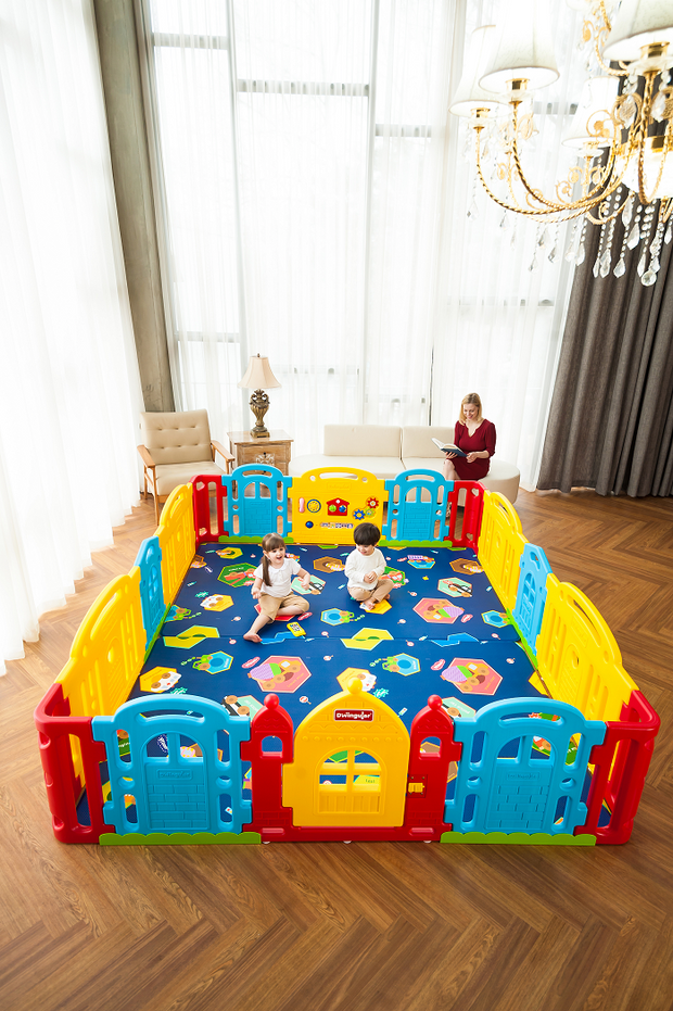Rainbow Dwinguler Castle Playpen for Kids
