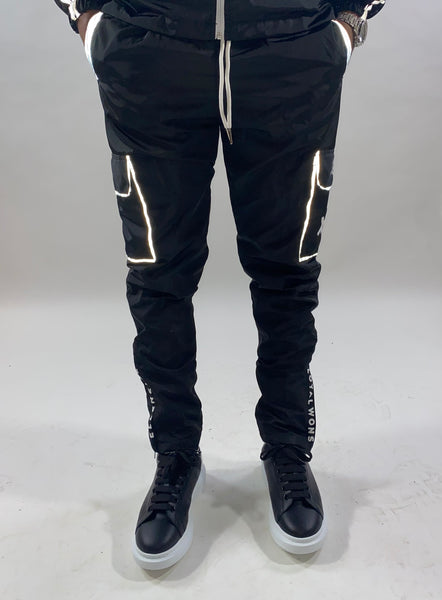 Black Nylon Windbreaker Cargos