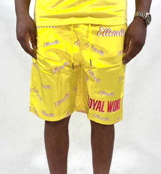 Yellow/Red All Over Ellenelle Shorts