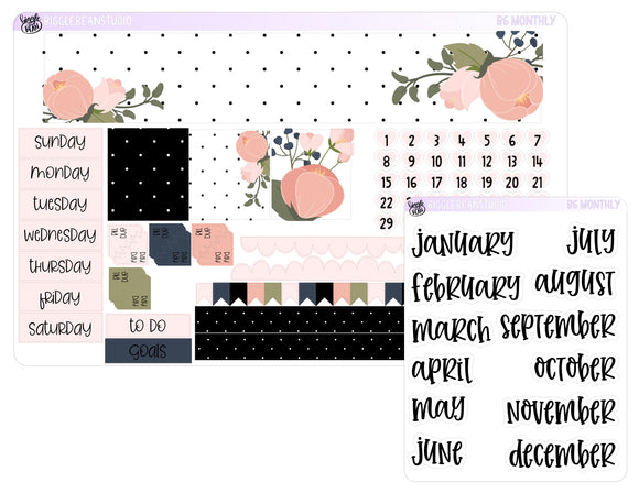 B6 Monthly Navy and Blush Polka Dot