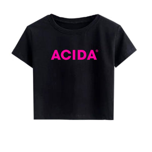 ACIDA® CROPTOP BLACK/MAGENTA