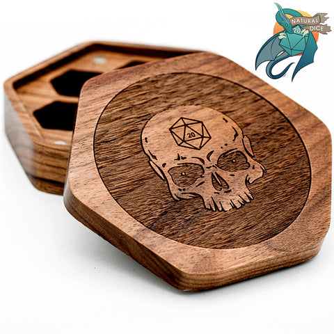 Wooden Skull - Dice Box (Magnetic)
