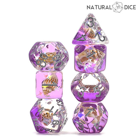 Purple Conch Shell Dice Set