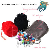 Dice Bag LARGE (Grey) - Faux Velvet