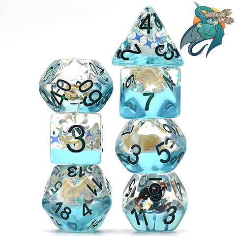 Blue Conch Shell Dice Set