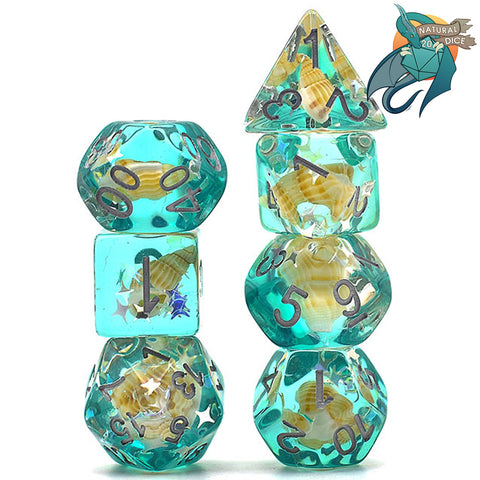 Green Conch Shell Dice Set