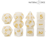 White Marble (11) Piece Dice Set