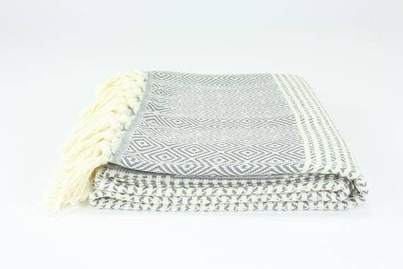 Premium Turkish Striped Diamond Pattern Towel