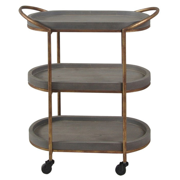 Slate Three Tier Serving Cart with Rolling Casters