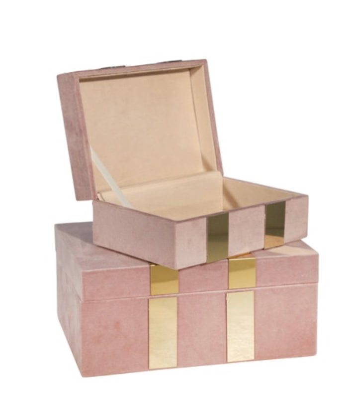 VELVETEEN JEWELRY BOX, BLUSH / GOLD
