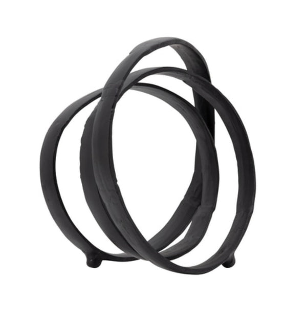 "13"" METAL RING SCULPTURE, BLACK"
