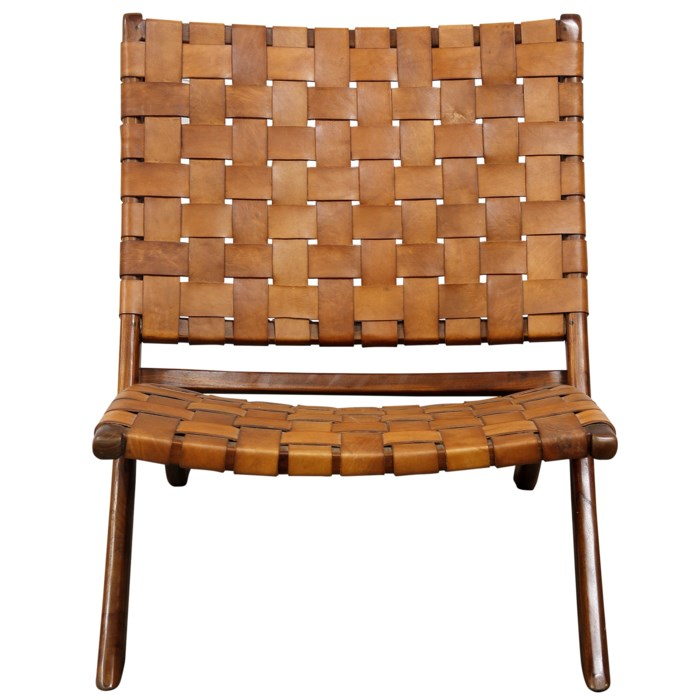 Teak and Woven Leather Chair