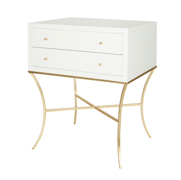 Elena White Lacquer Side Table