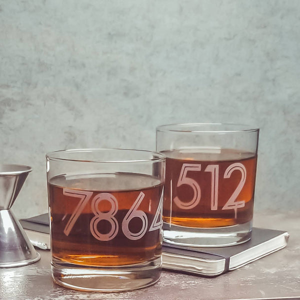 Personalized Area Zip Code Etched Whiskey Glass, Inline