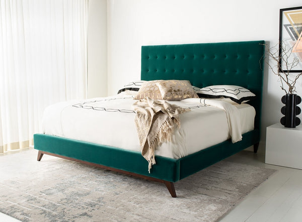 Tsafina Velvet Tufted Queen Bed