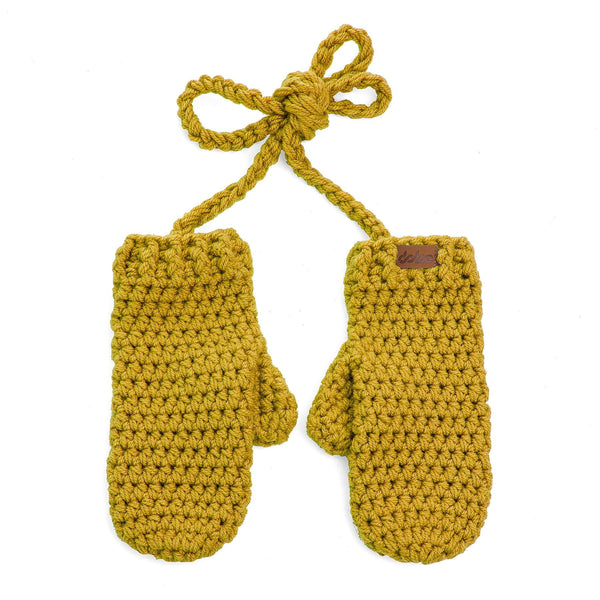 crochetted mitts gold - richard-woox