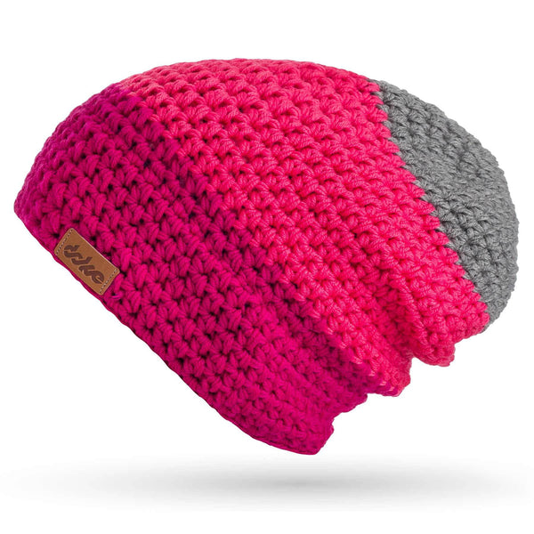 MERINO CROCHETED BEANIE pink striped - richard-woox