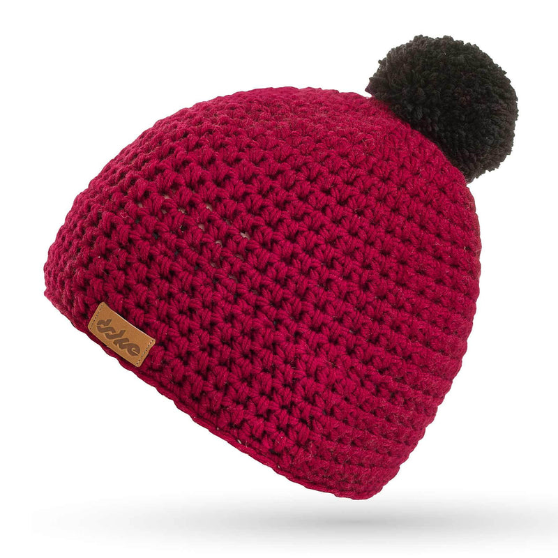 richard-woox.myshopify.com MERINO CROCHETED POM BEANIE bordo